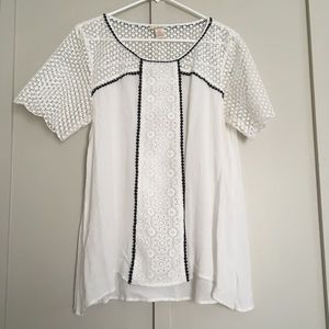 Beautiful Sundance White Blouse Top Crochet Lace